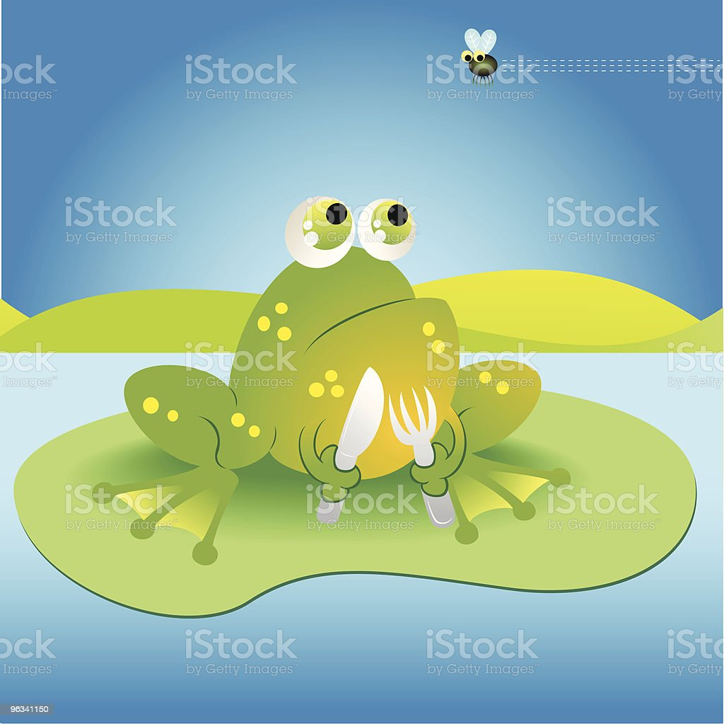 Frog Fork and Fly royalty-free stock vector art