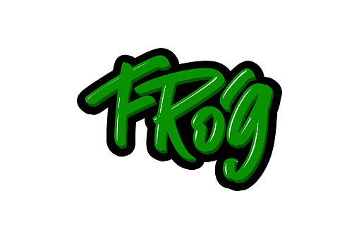 Frog hand drawn modern brush lettering text. Vector illustration logo for print and advertising.