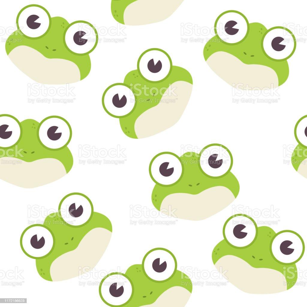 壁紙ラッピングパッキングおよび背景のための白い背景にカエルの頭