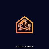 Frog Home Illustration Vector Template. Suitable for Creative Industry, Multimedia, entertainment, Educations, Shop, and any related business.