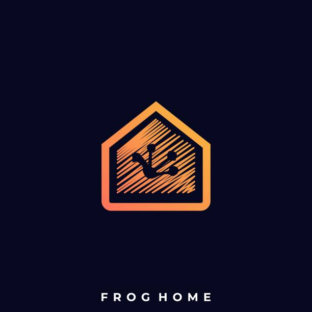 Frog Home Illustration Vector Template Frog Home Illustration Vector Template. Suitable for Creative Industry, Multimedia, entertainment, Educations, Shop, and any related business. amphibians stock illustrations