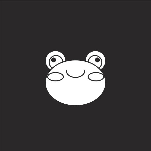 frog icon. Filled frog icon for website design and mobile, app development. frog icon from filled animals collection isolated on black background. frog icon. Filled frog icon for website design and mobile, app development. frog icon from filled animals collection isolated on black background. amphibians stock illustrations