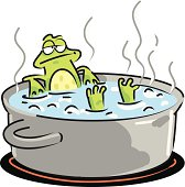 Illustration of the widespread anecdote describing a frog slowly being boiled alive, often used as a metaphor for the inability of people to react to significant changes that occur gradually.