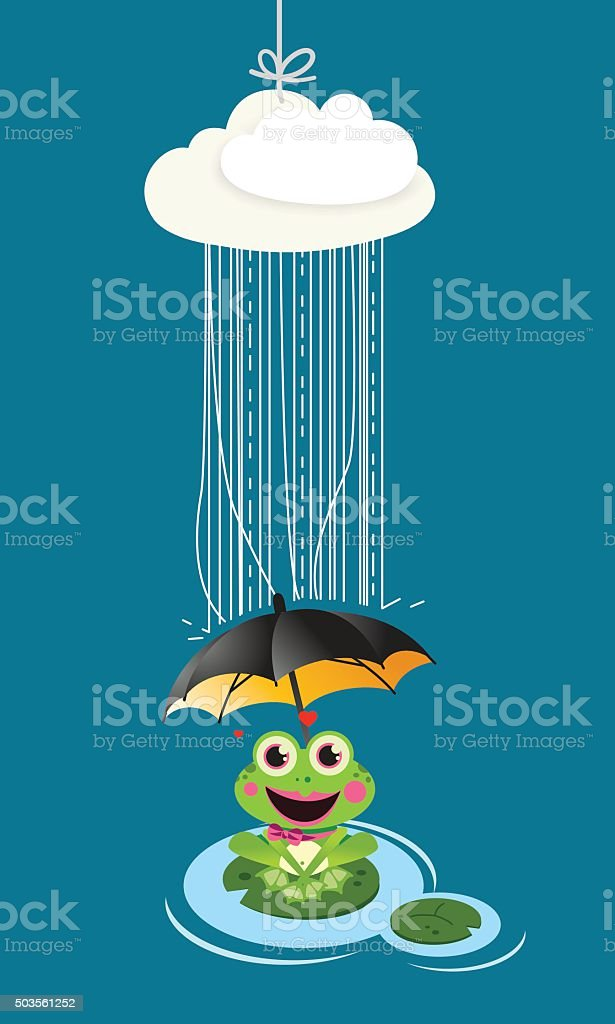 Frog in rain with umbrella vector art illustration