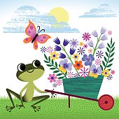 Frog sitting on the Gras in the Garden near the Wheelbarrow with Flowers.RGB, EPS 10.