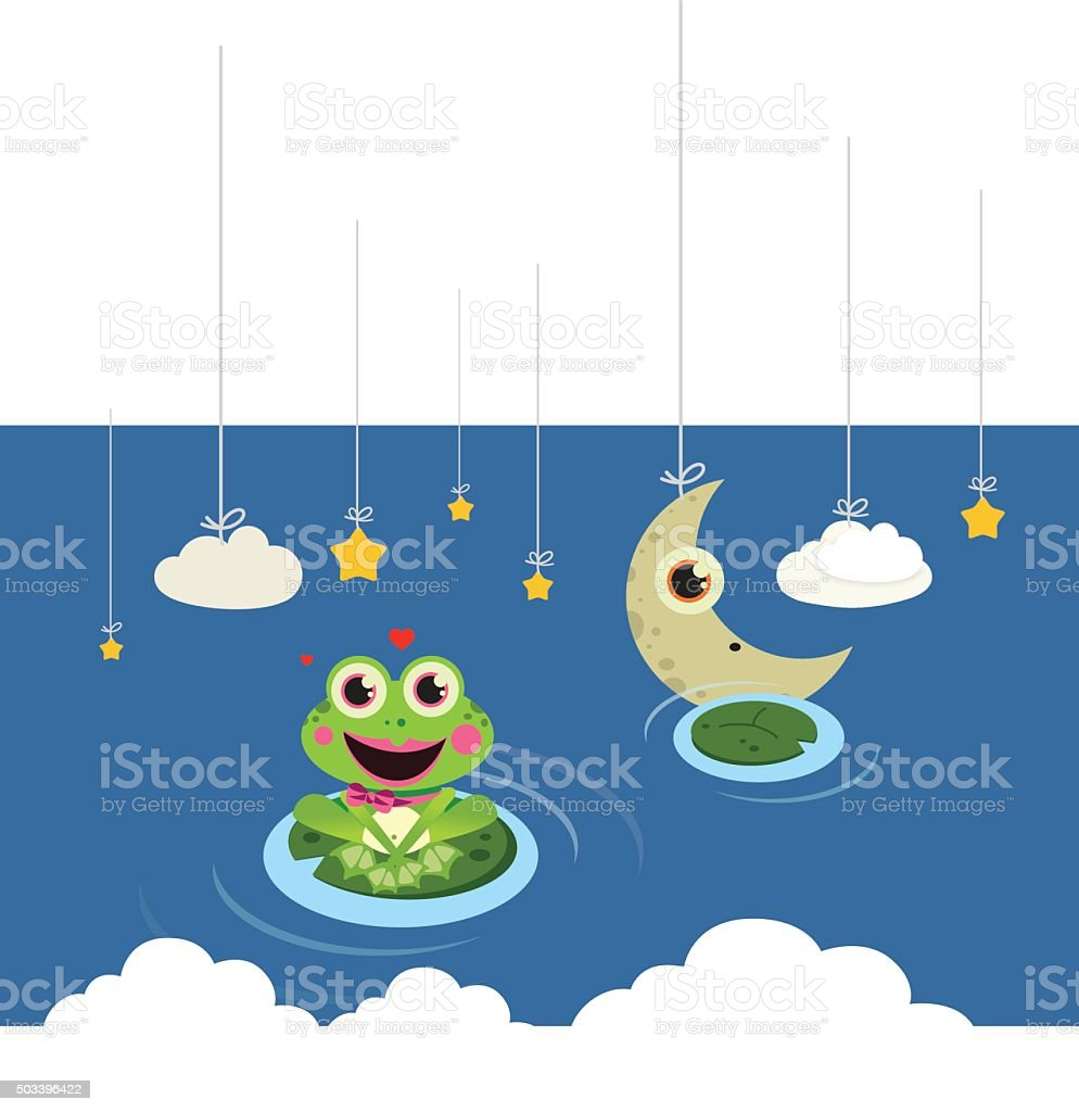 frog in the night vector art illustration