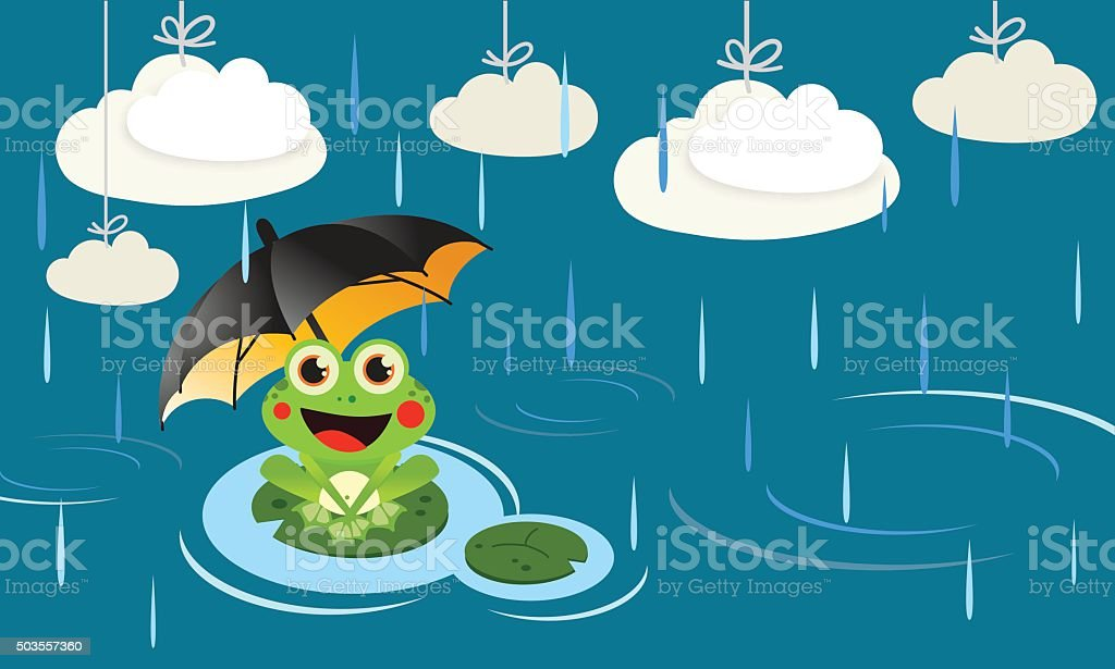 Frog in the rain with umbrella vector art illustration