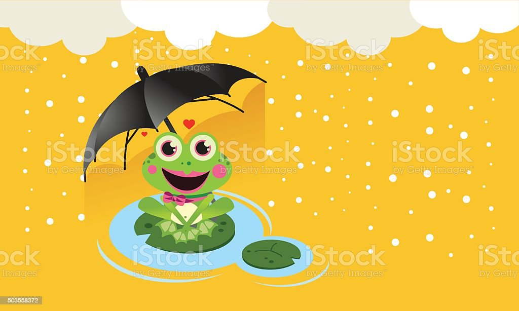 Frog in the snow with umbrella vector art illustration