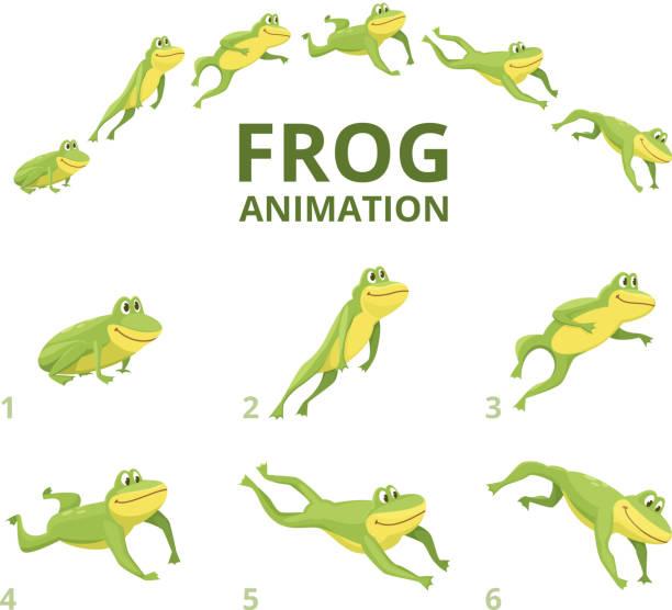 frog jumping animation. various keyframes for green animal - jumping stock illustrations
