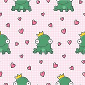 lovely seamless pattern with Frog King and Hearts