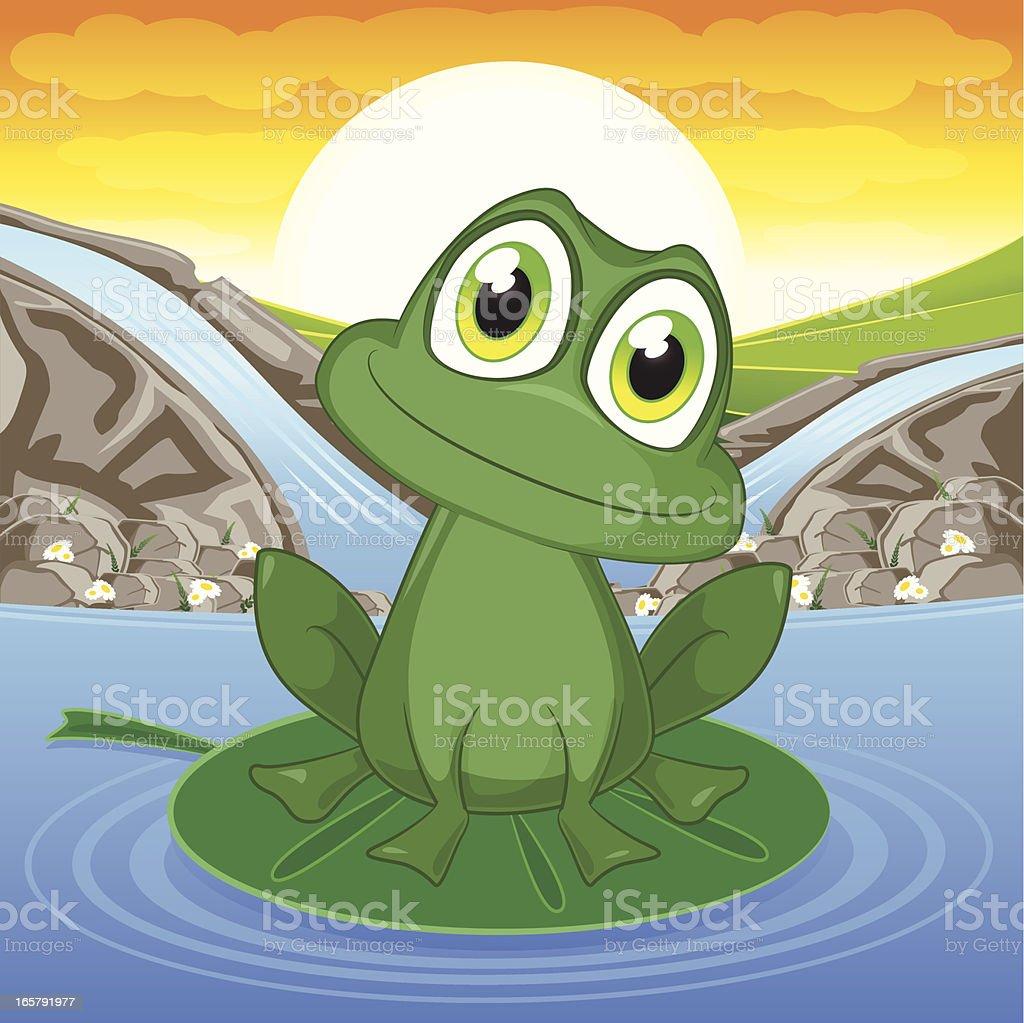 Frog on a pond. vector art illustration