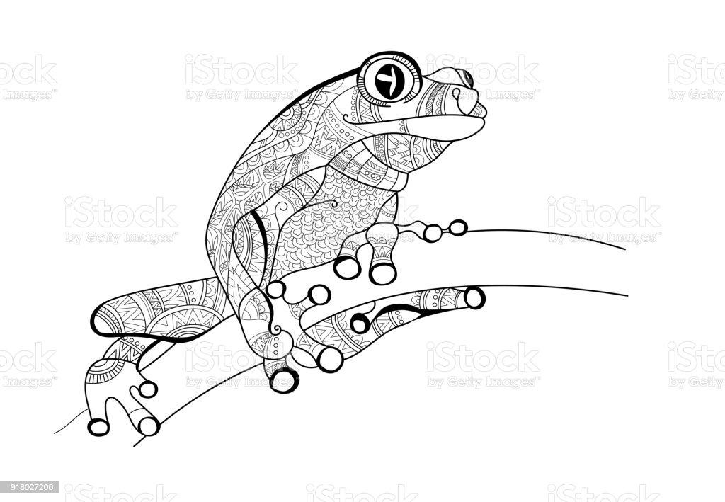 Ilustración de Rana En La Rama Doodle Para Colorear Vector De y más ...