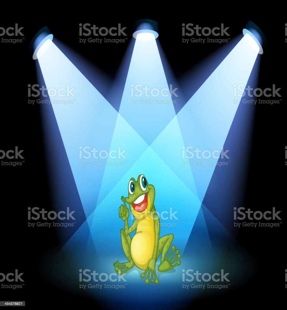 frog on the stage with spotlights royalty-free frog on the stage with spotlights stock vector art & more images of amphibian