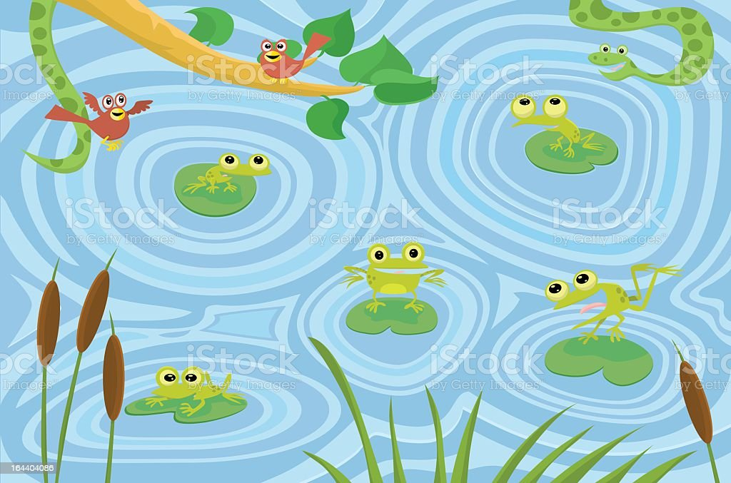 Frog Pond royalty-free stock vector art