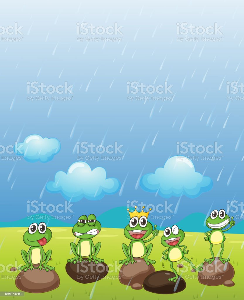 Frog Prince and friends royalty-free stock vector art