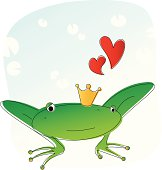 Frog prince is in love.Zip contains high resolution jpeg,AI8,eps8,pdf.