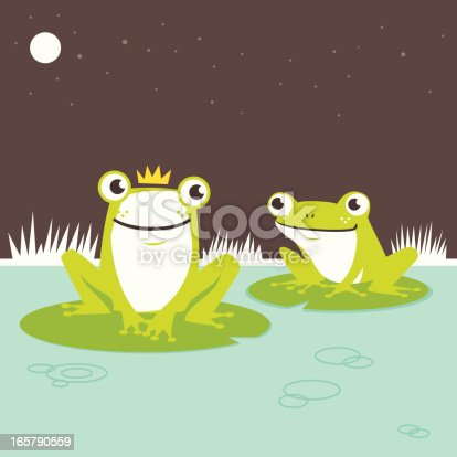 Frog prince hanging out with his fellow friend on the pond.