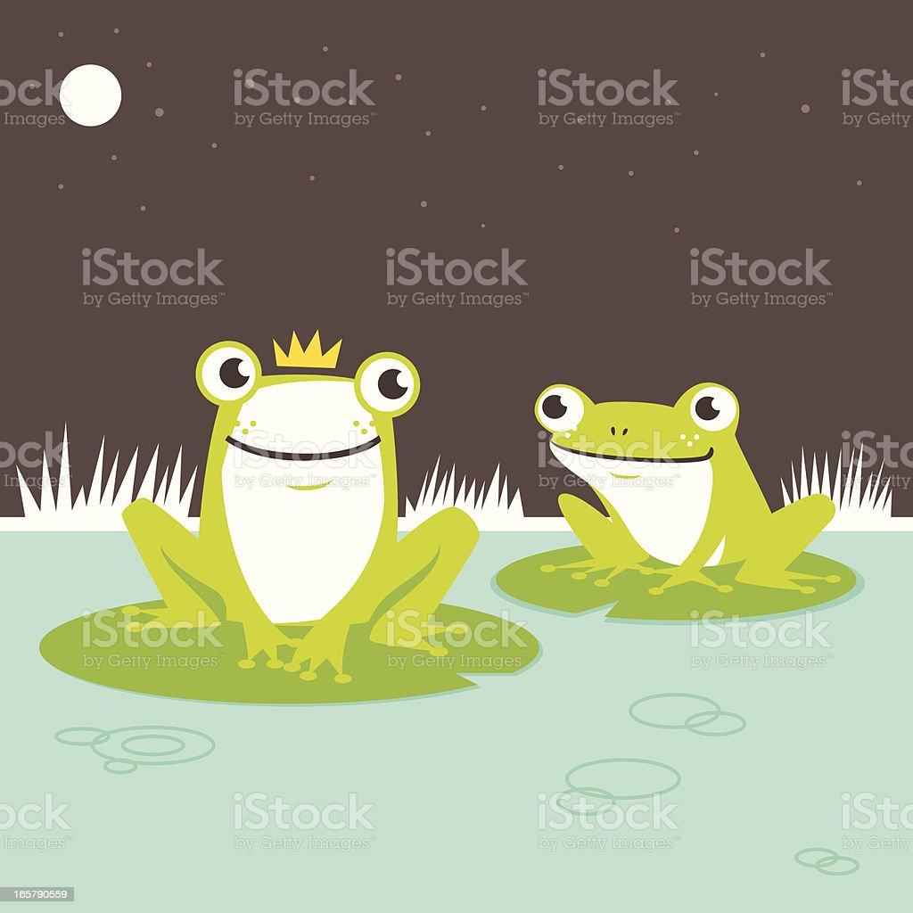 Frog prince vector art illustration