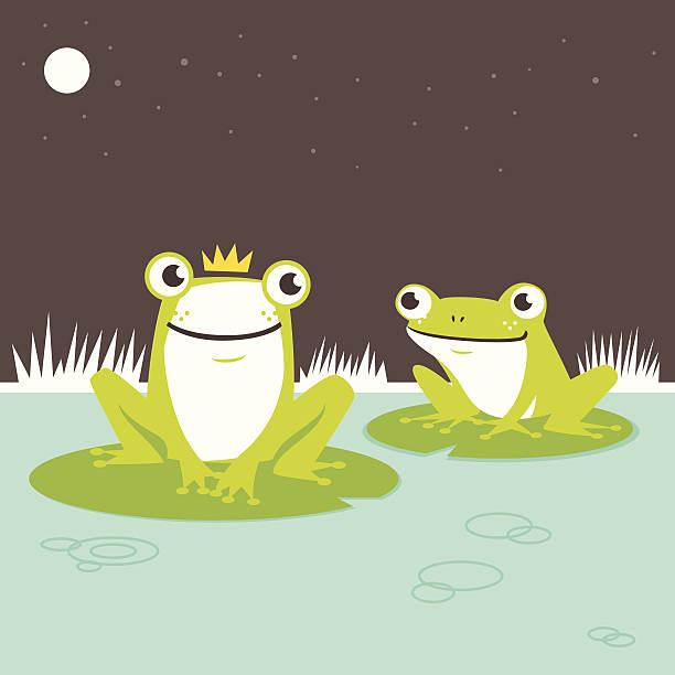 frog prince - seerosenteich stock-grafiken, -clipart, -cartoons und -symbole