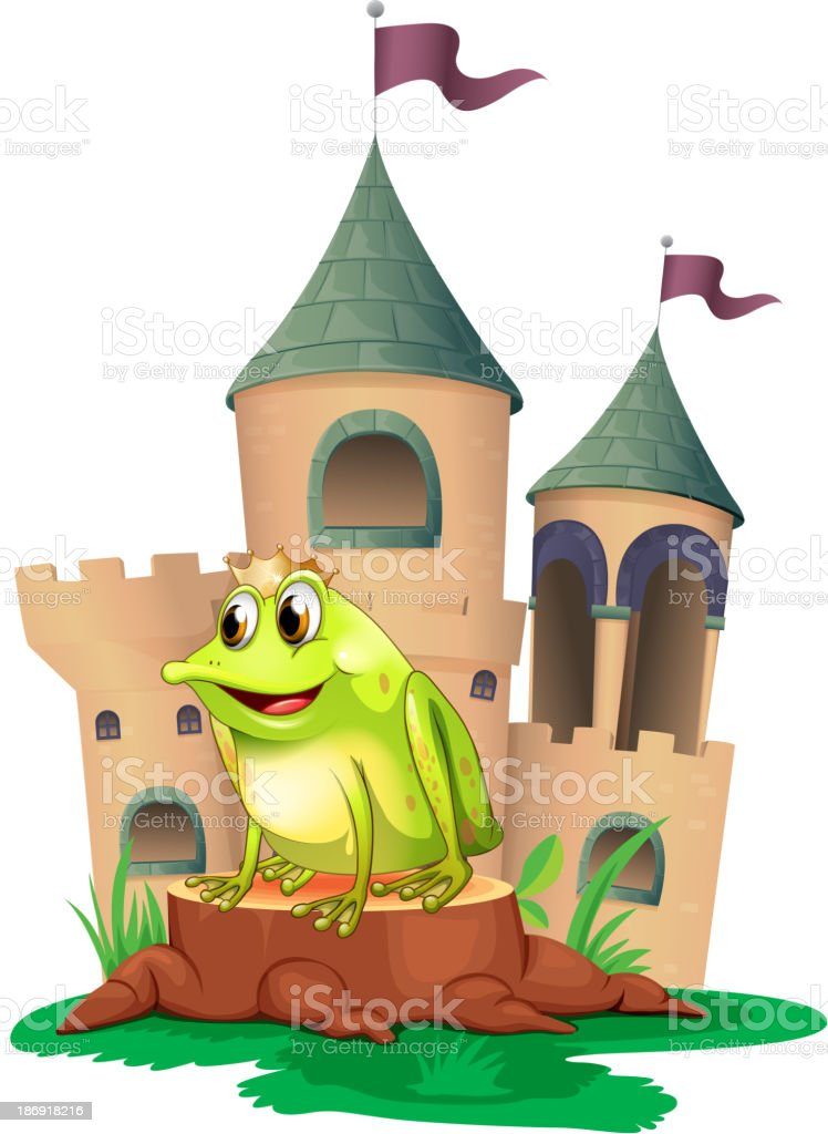 frog prince with a castle at his back royalty-free stock vector art