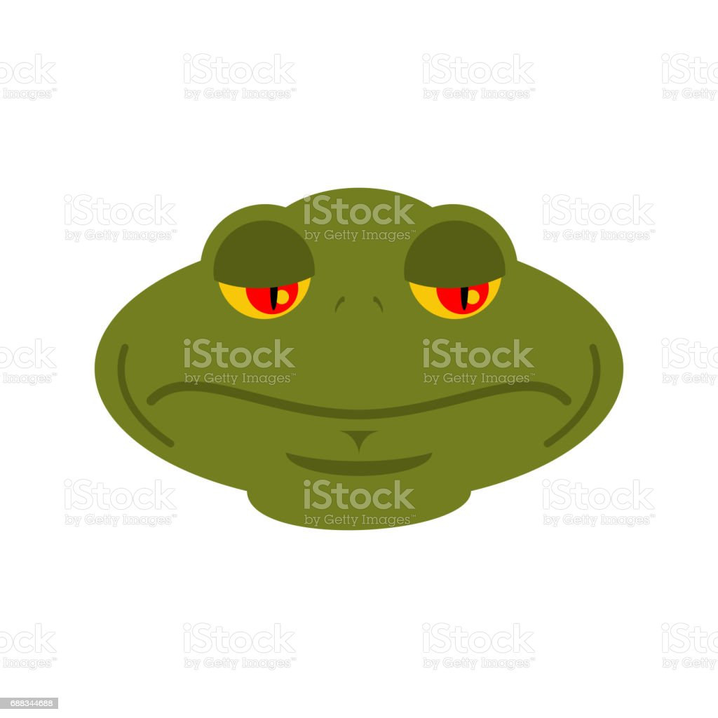 Frog sad emoji. toad Avatar sorrowful amphibious. Emotion Reptile Face vector art illustration