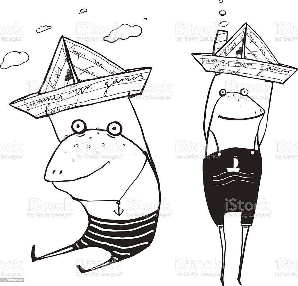 Frog Sailing Toy Paper Boats Outline Drawing vector art illustration