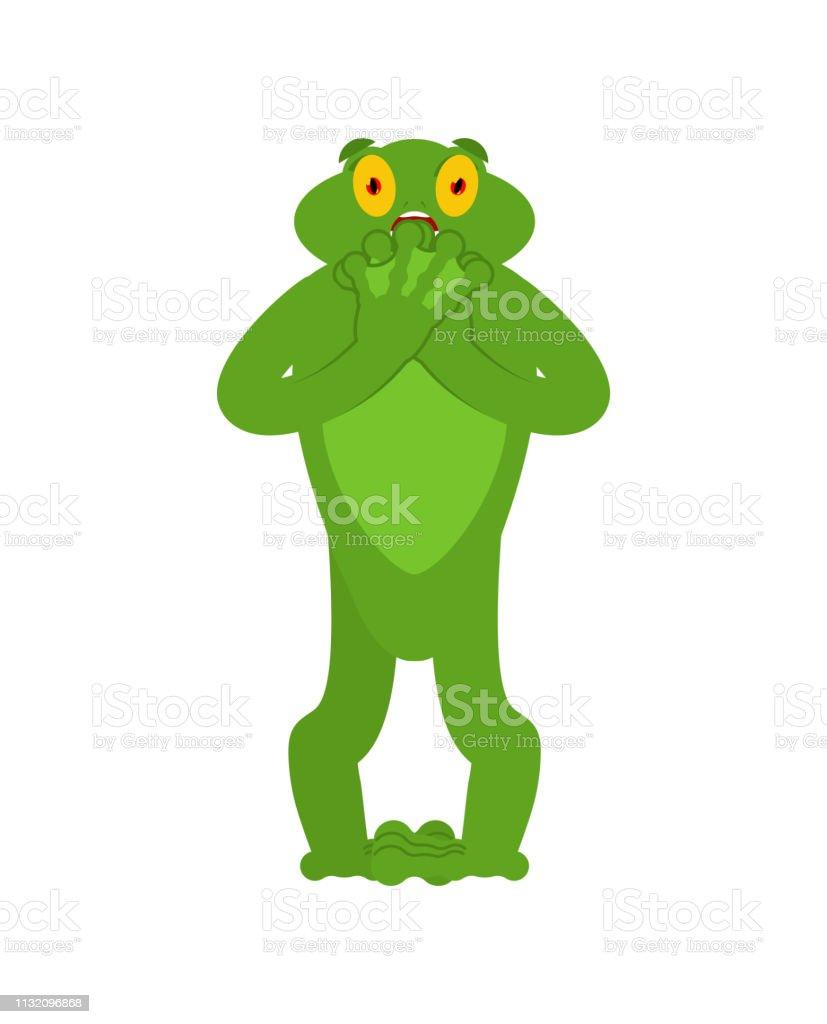 Frog scared OMG emotion. Toad Oh my God emoji. Frightened Anuran....