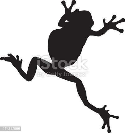 A silhouette of a frog