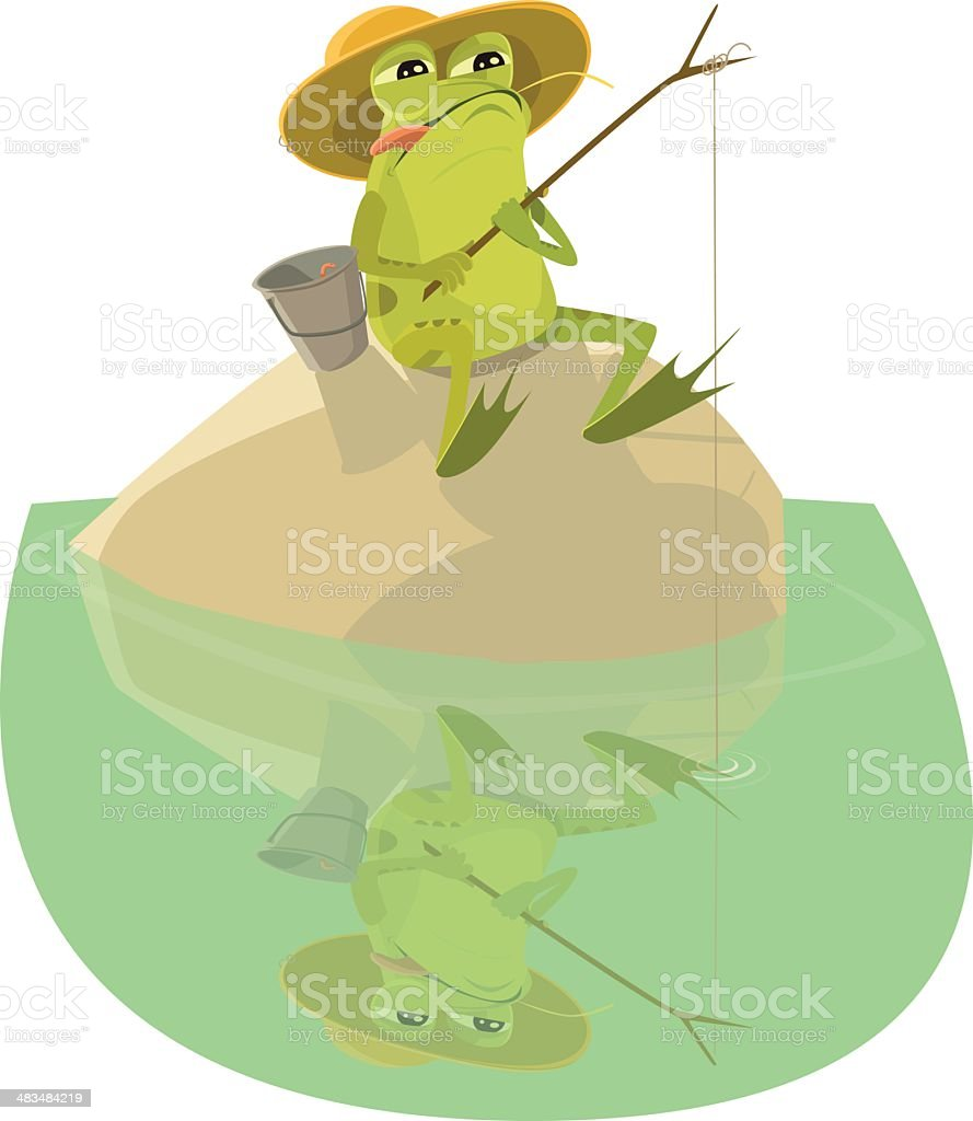 Frog Sitting on a Rock Fishing vector art illustration