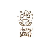 New Year card with  cute cartoon frog in  hat. Funny toad. Joyful animal . Merry Christmas and Happy Holidays. Vector contour image no fill.