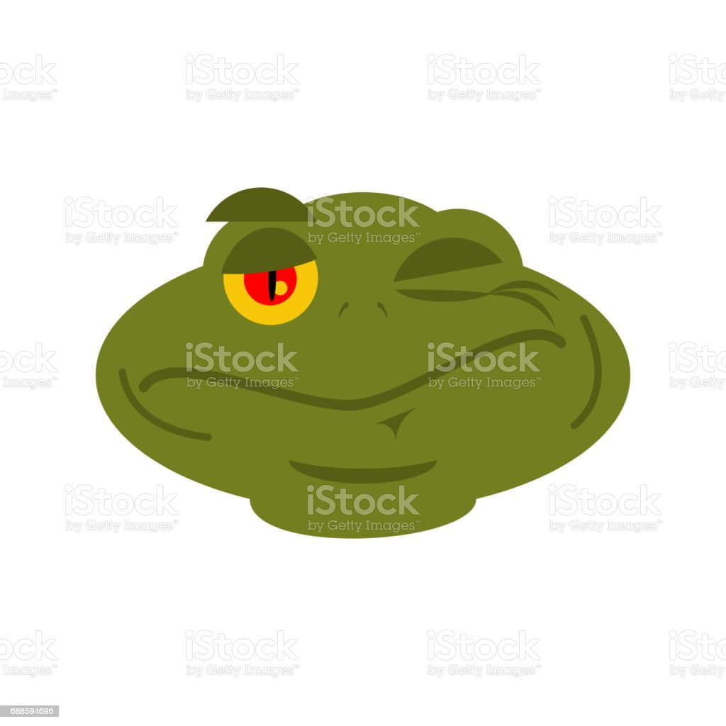 Frog Winks emoji. toad Avatar happy amphibious. Emotion Reptile Face vector art illustration