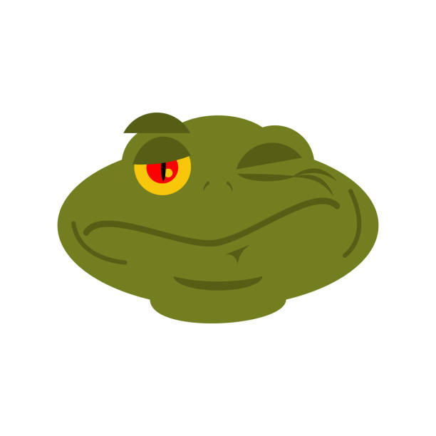 Frog Winks emoji. toad Avatar happy amphibious. Emotion Reptile Face vector art illustration