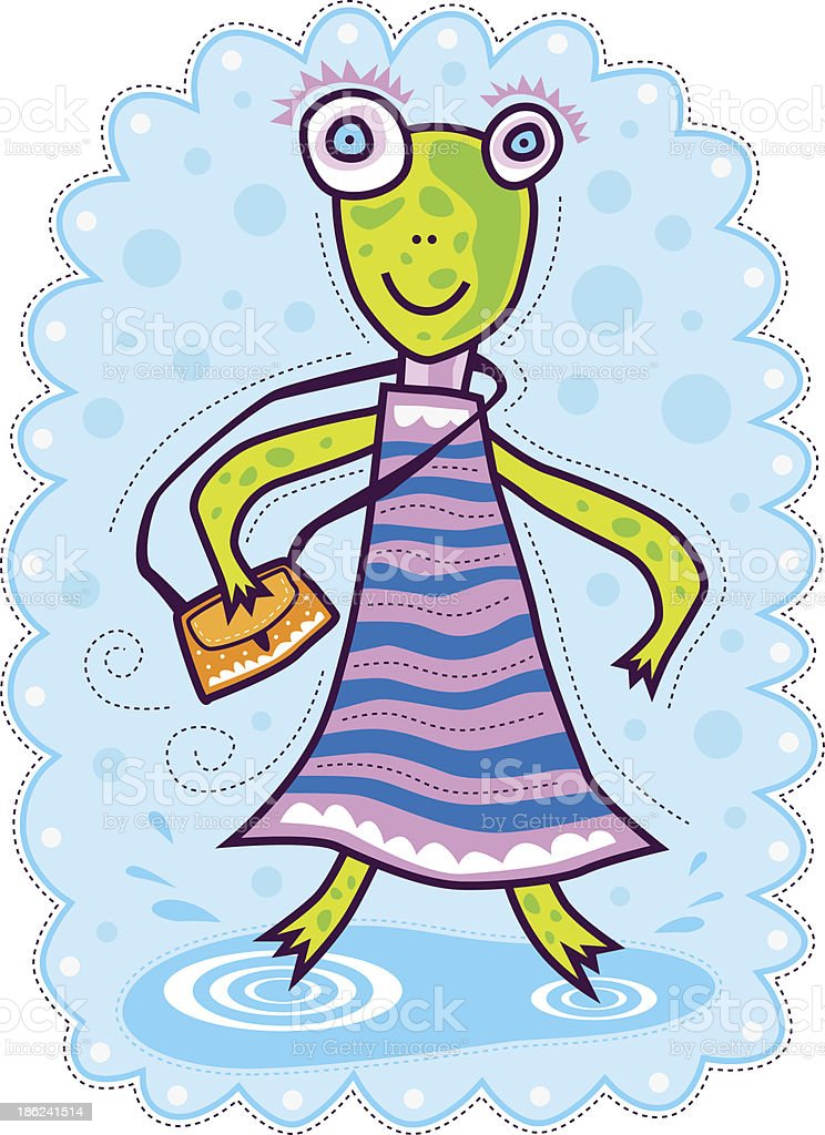 Frog with a yellow bag royalty-free stock vector art