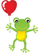 Frog with heart shaped balloon theme 1 - eps10 vector illustration.