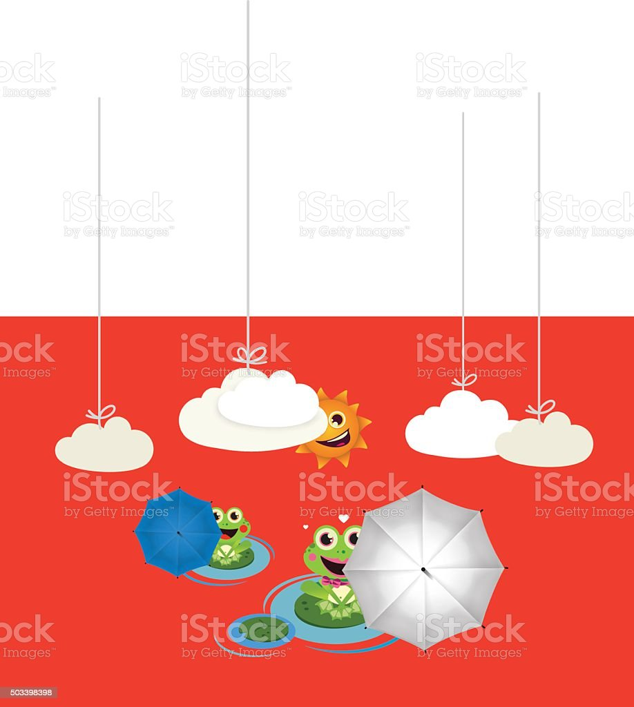 Frog with red and black umbrella in summer vector art illustration