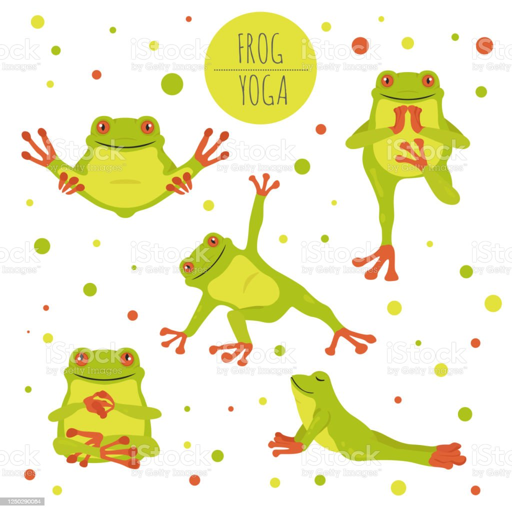 Frog Yoga Poses And Exercises Cute Cartoon Clipart Set Stock Illustration Download Image Now Istock