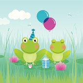 'Frog birthday celebration. EPS 10 file, some transparencies used. All elements are grouped and layered for easy editing.'