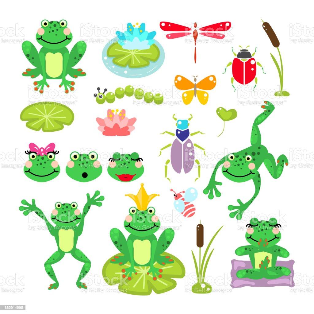 Frogs cartoon green clip-art vector set vector art illustration