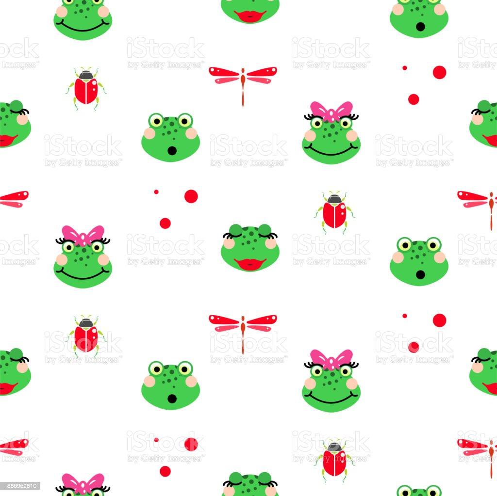 Frogs cartoon green seamless vector pattern vector art illustration