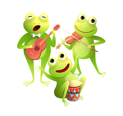 Frogs Concert Playing Musical Instruments and Sing