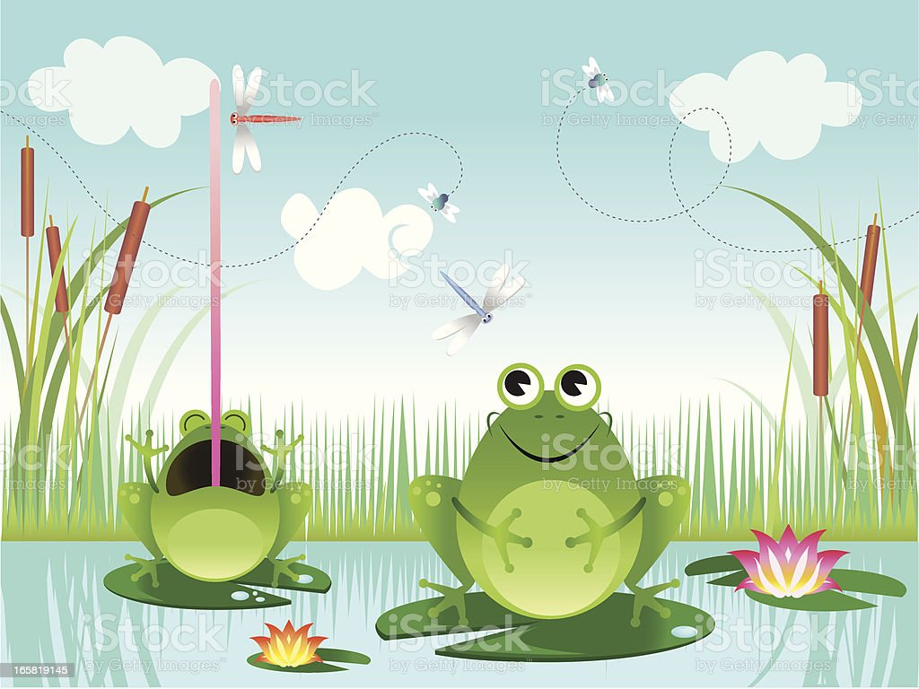 Frogs in a pond vector art illustration