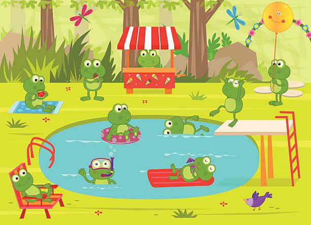 frogs pool party - schwimmpflanzen stock-grafiken, -clipart, -cartoons und -symbole