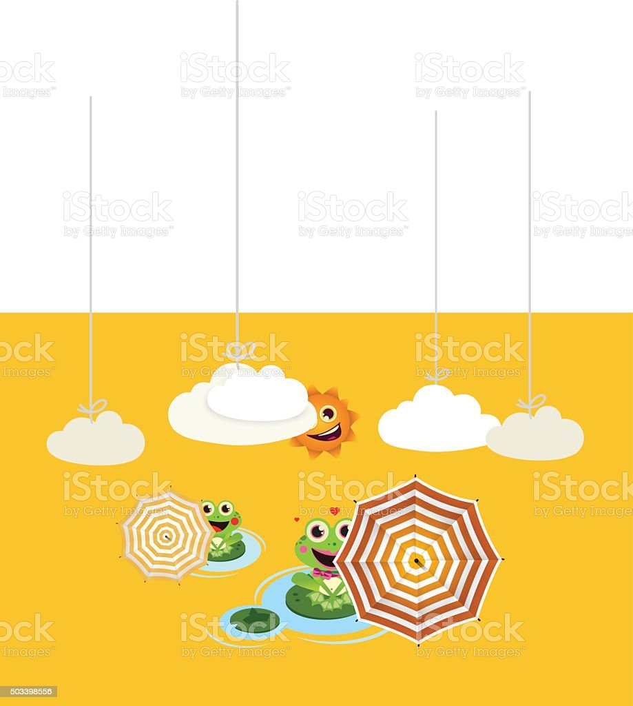 Frogs with umbrella in summer vector art illustration