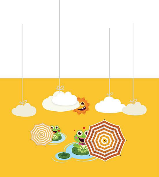 Frogs with umbrella in summer vector art illustration