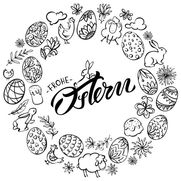 Frohe Ostern (Happy Easter in German language) wreath illustration vector art illustration