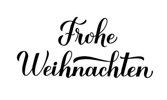 Frohe Weihnachten calligraphy hand lettering isolated on white. Merry Christmas typography poster in German. Easy to edit vector template for greeting card, banner, flyer, sticker, etc