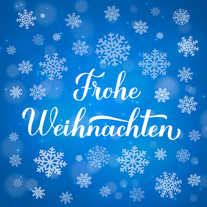 Frohe Weihnachten calligraphy hand lettering on blue background with bokeh and snowflakes. Merry Christmas typography poster in German. Vector template for greeting card, banner, flyer, etc.