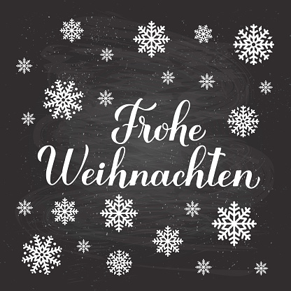 Frohe Weihnachten calligraphy hand lettering on chalkboard background with snowflakes. Merry Christmas typography poster in German. Vector template for greeting card, banner, flyer, etc.