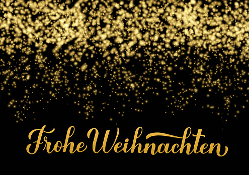 Frohe Weihnachten calligraphy hand lettering on shiny gold sparkles background. Merry Christmas typography poster in German. Vector template for greeting card, banner, flyer, label, etc