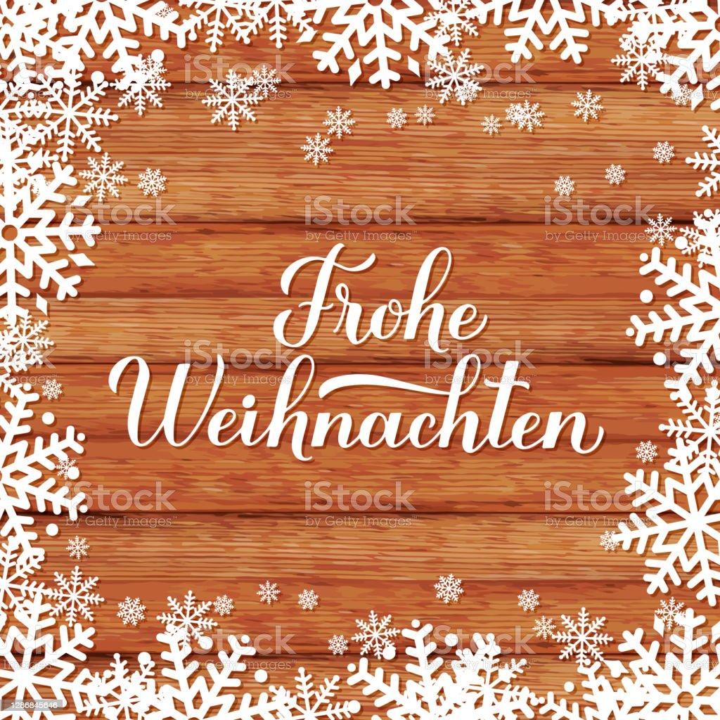 Frohe Weihnachten kaligrafi el kar taneleri ile ahşap arka plan üzerinde yazı. Almanca Mutlu Noeller tipografi posteri. Tebrik kartı, banner, el ilanı, etiket, vb. için vektör şablonu - Royalty-free Ahşap Vector Art